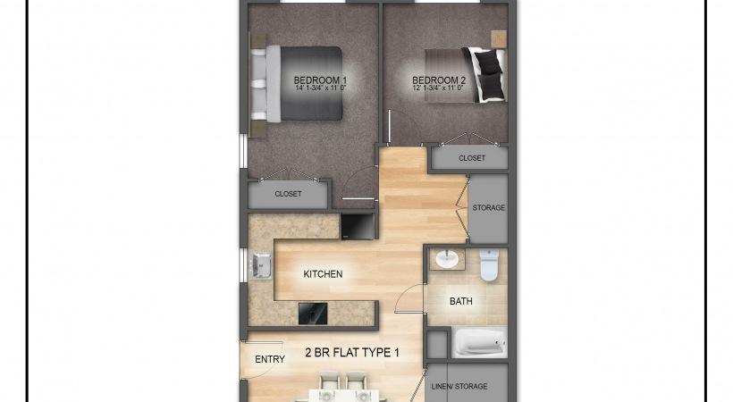 Typical 2 Bedroom Floorplan